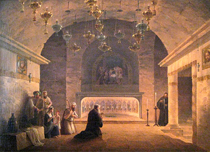 Painting of Grotto in Nativity Church in Bethlehem