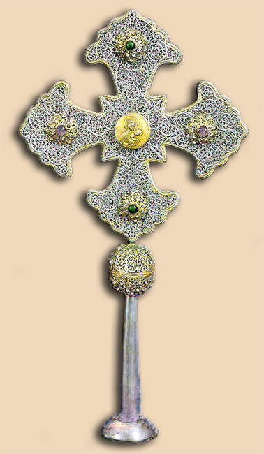 Silver filigree processional cross from Armenia