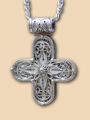 Silver filigree neck cross of Mr. Milojevic Ivan