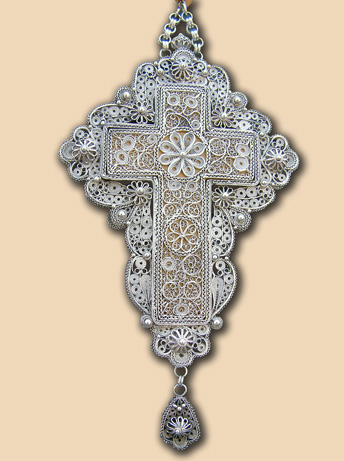 Silver filigree pectoral cross of Fr. Gerasimos (Krstic)
