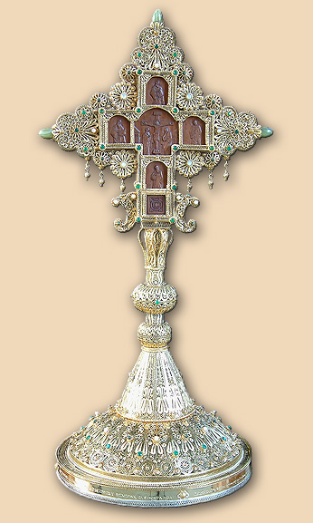 Silver filigree altar cross from Nativity church in Bethlehem