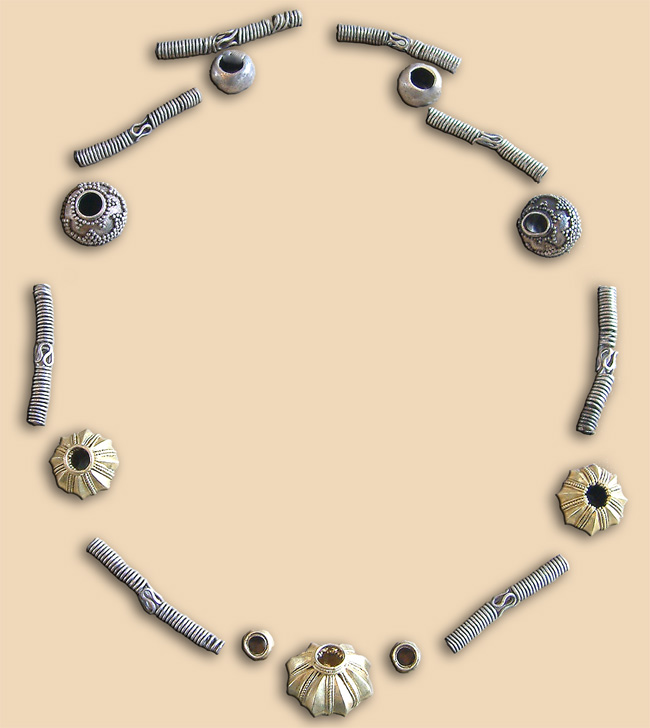 Silver necklace with golden and silver beads - before restoration